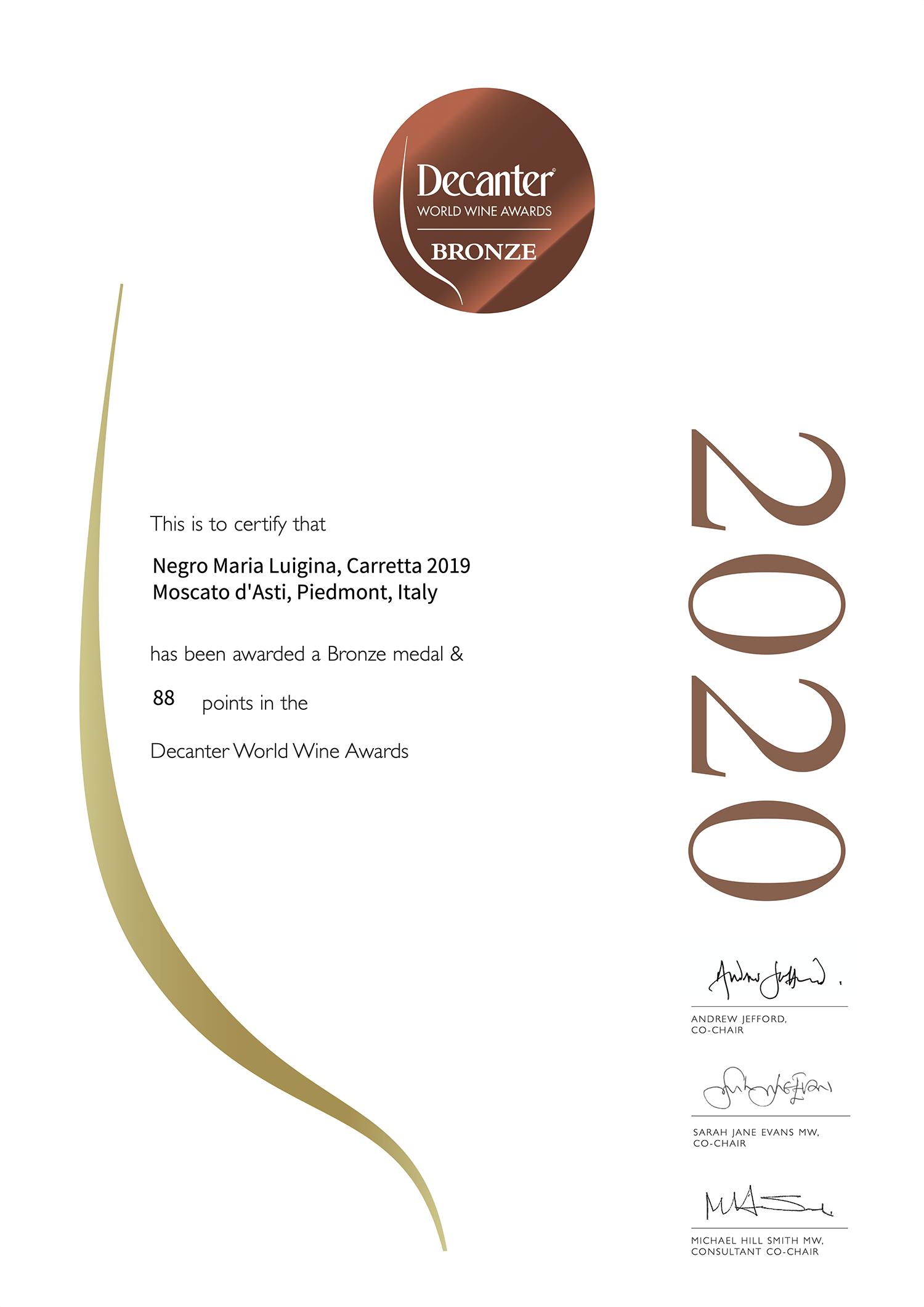 Decanter Bronze 2020 Moscato d'Asti Carretta 2019