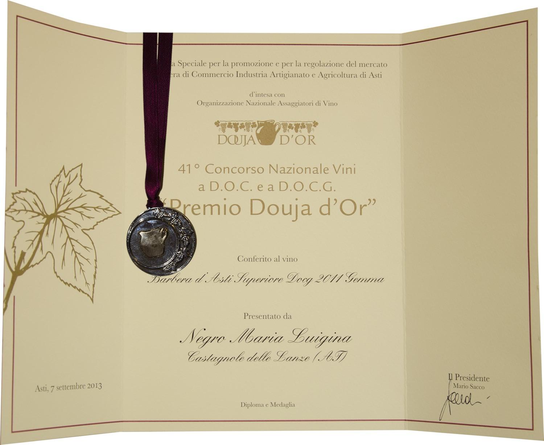 """""""Premio Douja d'Or"""" 2013 - Barbera d'Asti Superiore D.O.C.G. 2011 Gemma."""