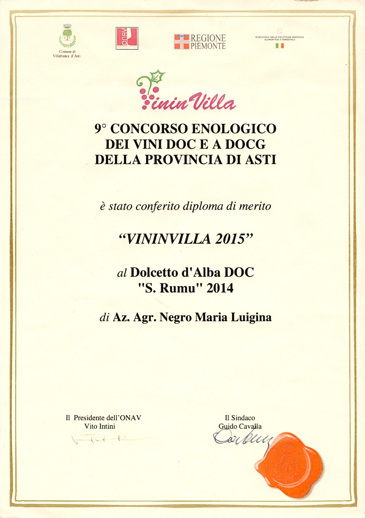"""VininVilla 2015 - Dolcetto d'Alba D.O.C. """"S. Rumu"""" 2014."""