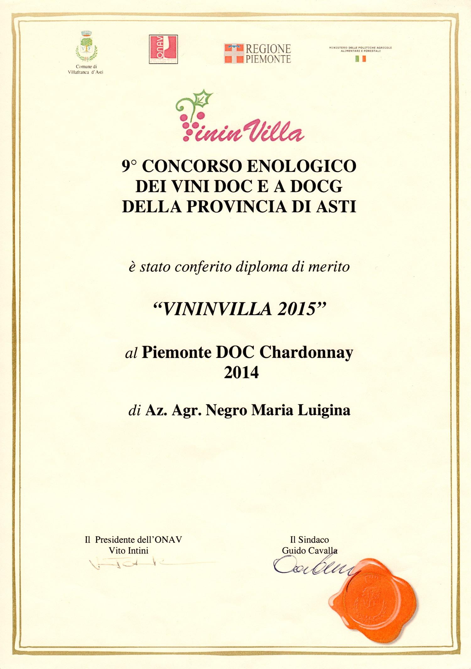 VininVilla 2015 - Piemonte D.O.C. Chardonnay 2014.