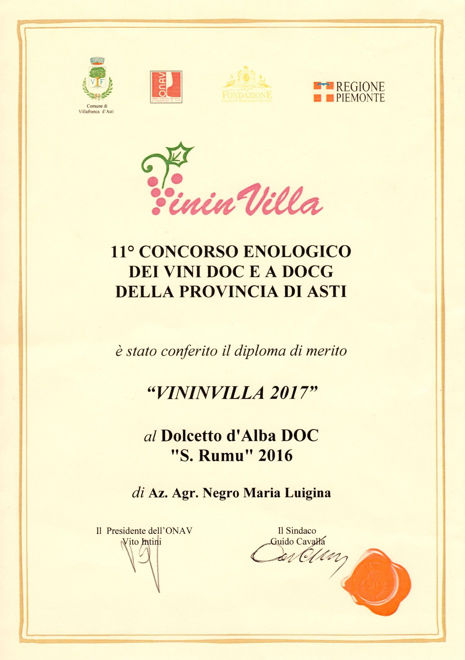 """VininVilla 2017 - Dolcetto d'Alba D.O.C. """"S. Rumu"""" 2016."""