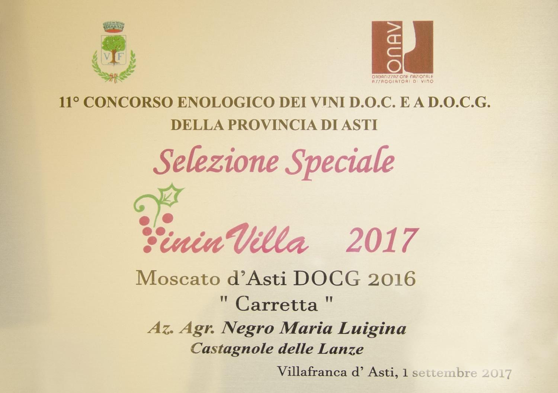 """VininVilla 2017 - Moscasto d'Asti D.O.C.G. 2016 """"Carretta""""."""