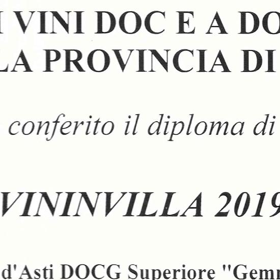 """Vininvilla 2019 - Barbera d'Asti D.O.C.G Superiore """"Gemma"""" 2016."""
