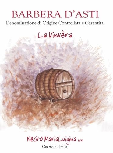 """Etichetta Barbera d'Asti D.O.C.G. """"La Vinvèra""""."""