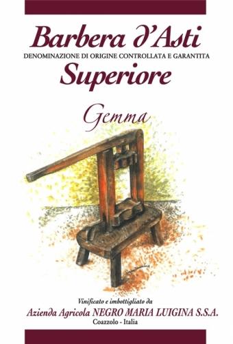 """Etichetta Barbera d'Asti Superiore D.O.C.G. """"Gemma""""."""