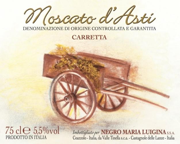 Etichetta Moscato d'Asti D.O.C.G. Cascina Carretta.