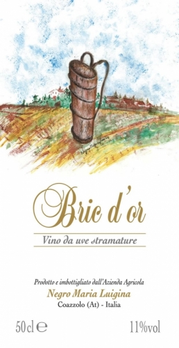 Vino da uve stramature Bric d'Or label.